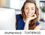 portrait of businesswoman... | Shutterstock . vector #714789610