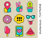 set of vector patches and... | Shutterstock .eps vector #714796948