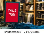 sale 70 off mock up advertise... | Shutterstock . vector #714798388