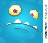 funny smiling cartoon monster... | Shutterstock .eps vector #714810019