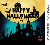 halloween night background with ... | Shutterstock .eps vector #714810220