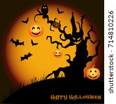 halloween night background with ... | Shutterstock .eps vector #714810226