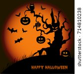 halloween night background with ... | Shutterstock .eps vector #714810238