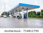 blurred photo of gas station... | Shutterstock . vector #714811750