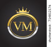 initial letter vm logotype...   Shutterstock .eps vector #714812176