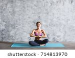 young yoga woman in the prayer... | Shutterstock . vector #714813970