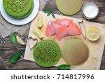 the process of making breakfast ...   Shutterstock . vector #714817996