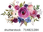 pink  violet white watercolor... | Shutterstock . vector #714821284
