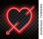 bright neon heart. heart sign... | Shutterstock .eps vector #714826303