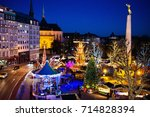 christmas fair in luxembourg.... | Shutterstock . vector #714828394