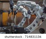 robots welding in the... | Shutterstock . vector #714831136