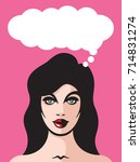 pretty woman with thought... | Shutterstock .eps vector #714831274