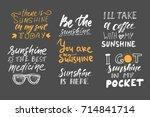sunshine hand lettering quotes...   Shutterstock .eps vector #714841714