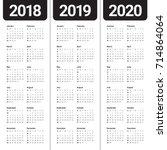 year 2018 2019 2020 calendar... | Shutterstock .eps vector #714864064