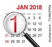 close up on 1 january 2018. new ... | Shutterstock .eps vector #714865906