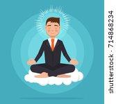 office worker  meditating ... | Shutterstock .eps vector #714868234