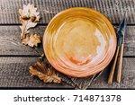 autumn table setting.... | Shutterstock . vector #714871378