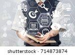 block chain information...   Shutterstock . vector #714873874