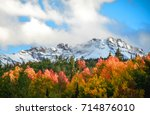 colorful fall morning of the... | Shutterstock . vector #714876010