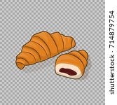 croissant isolated and half a... | Shutterstock .eps vector #714879754