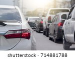 cars on the road heading... | Shutterstock . vector #714881788