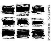 set of black brush stroke.... | Shutterstock .eps vector #714888988