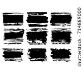 set of black brush stroke.... | Shutterstock .eps vector #714889000