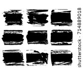 set of black brush stroke.... | Shutterstock .eps vector #714889018
