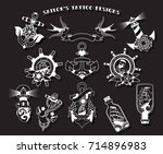 vector sailor's tattoo designs. ... | Shutterstock .eps vector #714896983