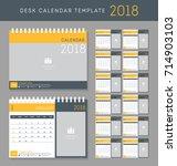 desk calendar 2018 vector... | Shutterstock .eps vector #714903103