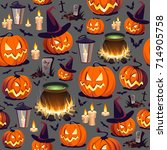 seamless halloween pattern with ... | Shutterstock .eps vector #714905758