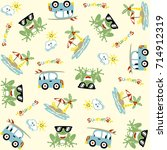 vector cartoon seamless pattern ... | Shutterstock .eps vector #714912319