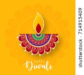 happy diwali wallpaper design... | Shutterstock .eps vector #714915409