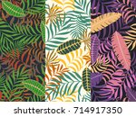 set of three seamless floral... | Shutterstock .eps vector #714917350