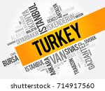 list of cities in turkey word... | Shutterstock .eps vector #714917560