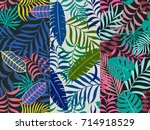 set of three seamless floral... | Shutterstock .eps vector #714918529