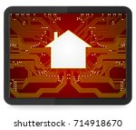 tablet computer with chip home... | Shutterstock . vector #714918670