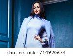 beautiful sexy woman brunette... | Shutterstock . vector #714920674