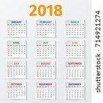 calendar 2018 year. week starts ... | Shutterstock .eps vector #714921274