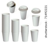 empty white paper cup set... | Shutterstock .eps vector #71492221