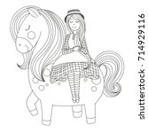 the girl is riding a horse. | Shutterstock .eps vector #714929116
