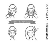 beauty treatment icons  face... | Shutterstock .eps vector #714932170