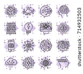 icon set for artificial... | Shutterstock .eps vector #714932503
