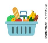shopping basket with food and... | Shutterstock .eps vector #714945010