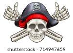 skull and crossbones jolly...   Shutterstock . vector #714947659