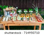 delicious catering banquet... | Shutterstock . vector #714950710