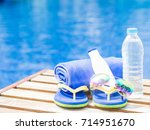 flip flops  sunglasses  blue...   Shutterstock . vector #714951670