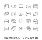 minimal set of chat bubble line ... | Shutterstock .eps vector #714952618