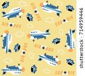 vector cartoon seamless pattern ... | Shutterstock .eps vector #714959446