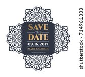 vector wedding card laser cut...   Shutterstock .eps vector #714961333